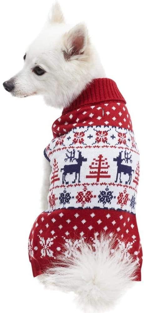 Blueberry Pet Vintage Holiday Christmas Reindeer Dog Sweater Unique Dog Gift