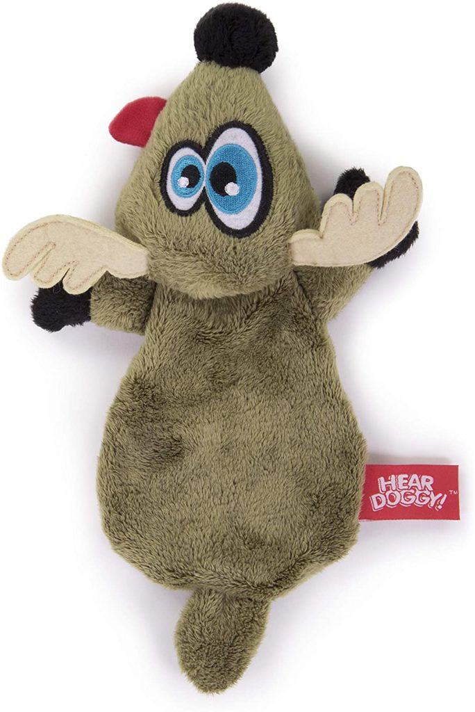 Hear Doggy Flattie Brown Dear Ultrasonic Silent Squeaker Dog Toy Unique Dog Gift