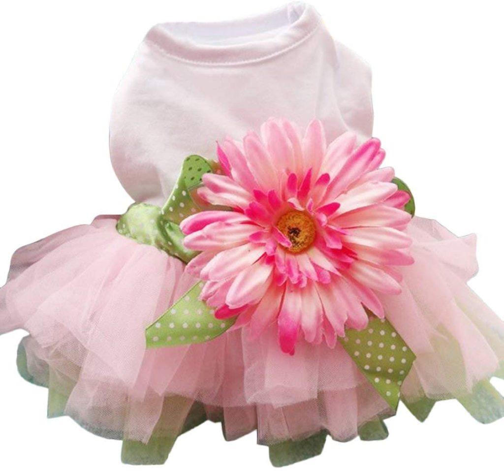 Sanwood Daisy Flower Gauze Tutu Dress Unique Dog Gift