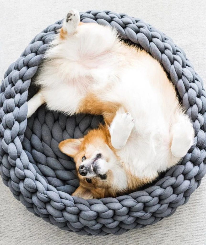 Hand-Woven Marino Wool Pet Bed Unique Dog Gift