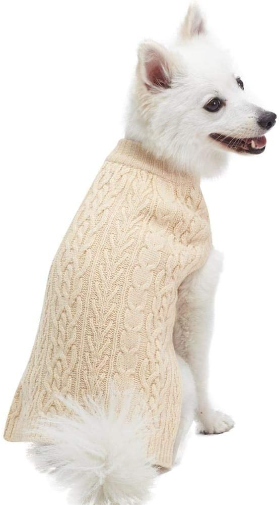 Blueberry Pet Classic Cable Knit Pullover Dog Sweater