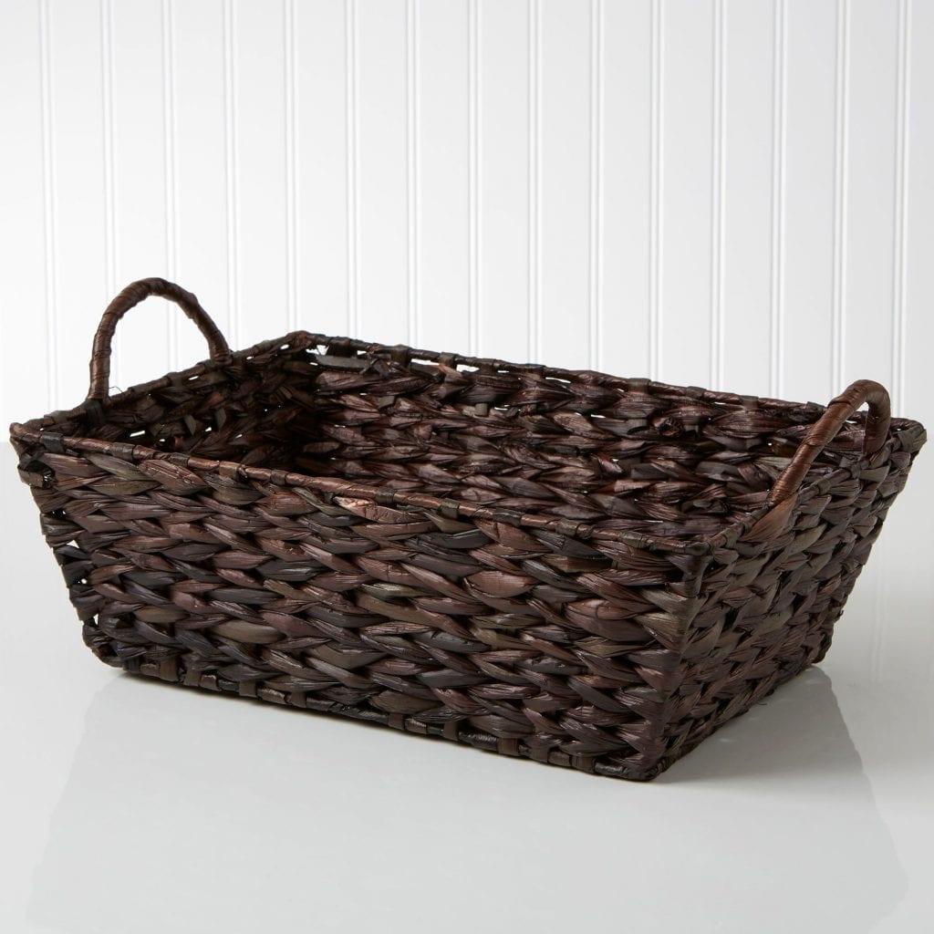Mahogany Wicker Dog Toy Storage Basket