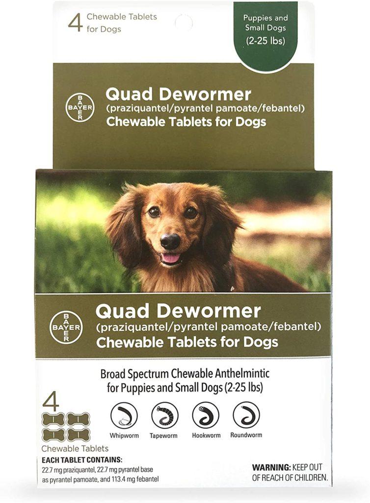 Bayer Quad Dog Dewormer Chewable Tablets